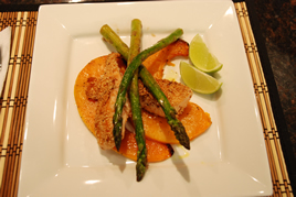 Episode 77 - Sesame encrusted Salmon with Roasted Pumpkin and Asparagus