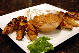 Episode 99 - Chicken Satay Sticks with Sesame Seeds and Peanut Sauce